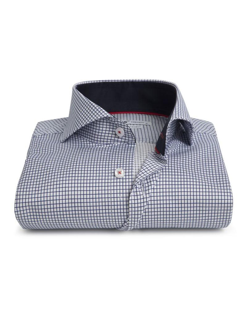 XOOS Men's navy blue checkered and fitted shirt with red braid (Double Twisted)