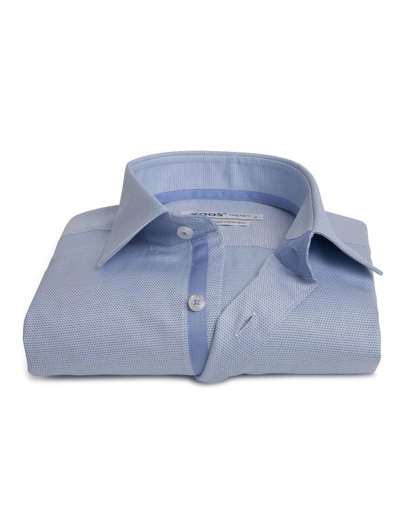 XOOS Men's blue woven cotton fitted shirt and blue lining (Double Twisted)