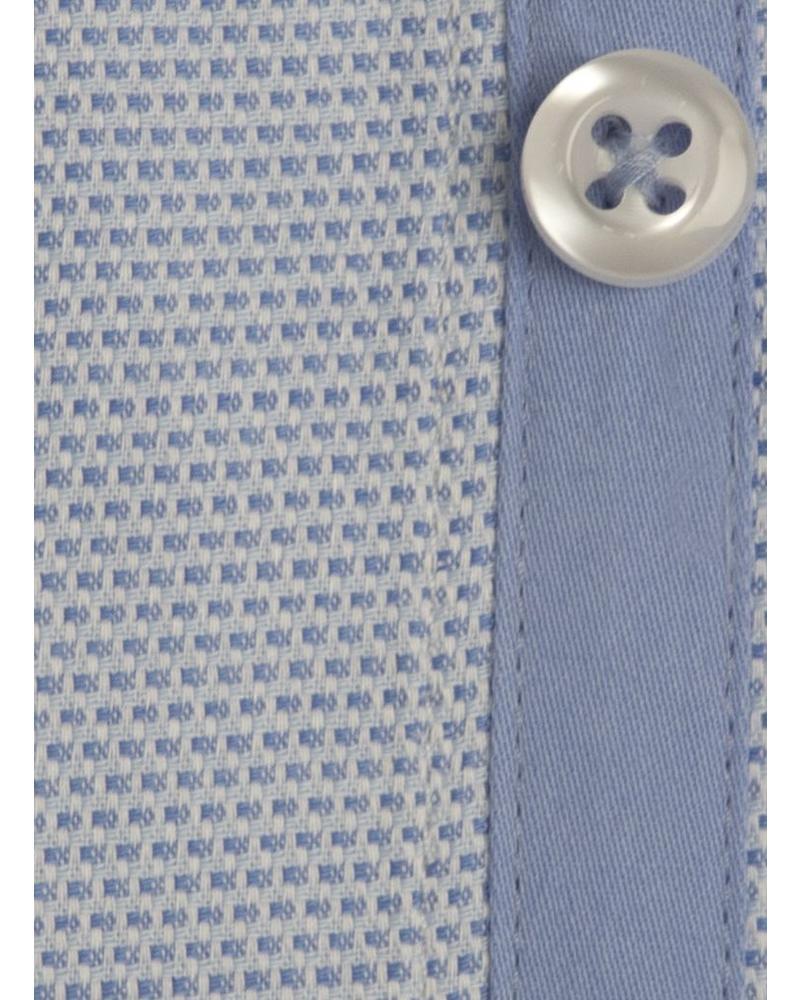 XOOS Chemise homme cintrée bleue en coton tissé doublure ciel (Double Retors)