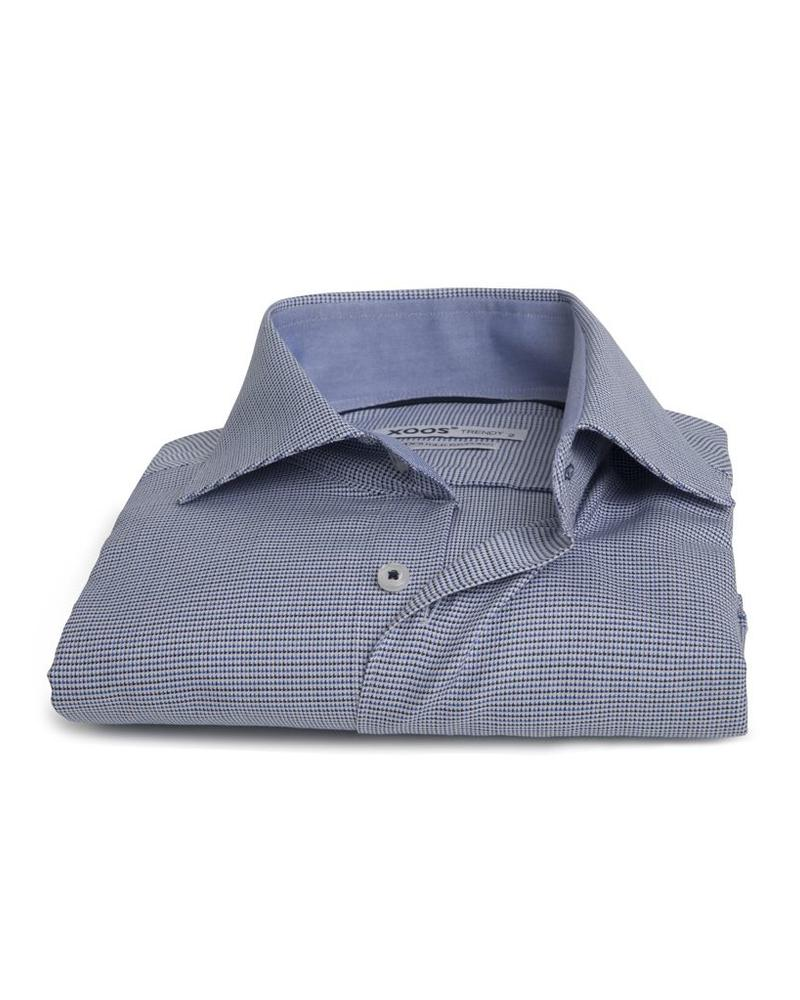 XOOS Men's blue Prince of Wales fitted shirt (Double Twisted)