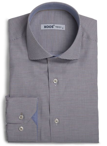 XOOS Men's blue and Brown Prince of Wales fitted shirt (Double Twisted)