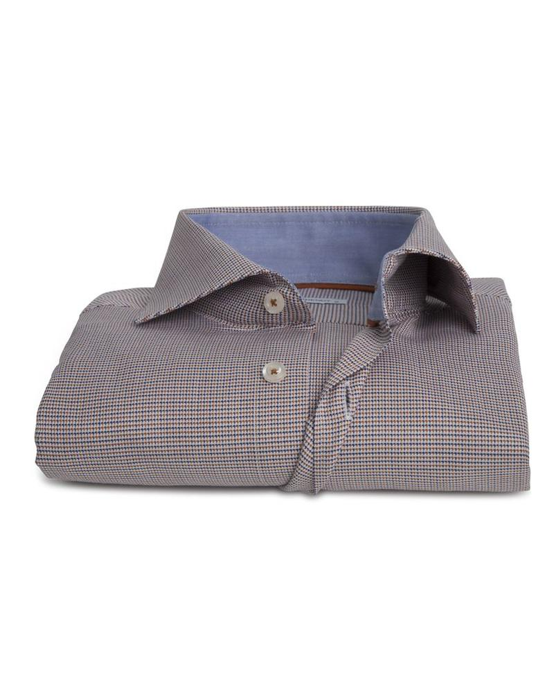 XOOS Men's blue and Ocher red Prince of Wales fitted shirt (Double Twisted)