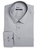 XOOS Men's gray fitted shirt polka dots lining (Double Twisted)