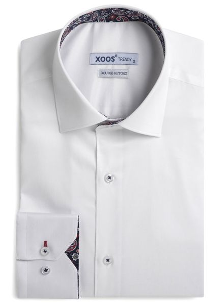 XOOS Men's white fitted shirt and Paisley lining (Double Twisted)