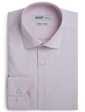 XOOS Chemise homme cintrée rose à fines rayures (Double Retors)