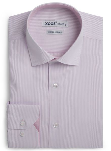 XOOS Men's pink striped fitted shirt (Double Twisted)