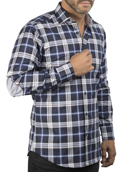 XOOS Navy checkered elbowpaded fitted shirt