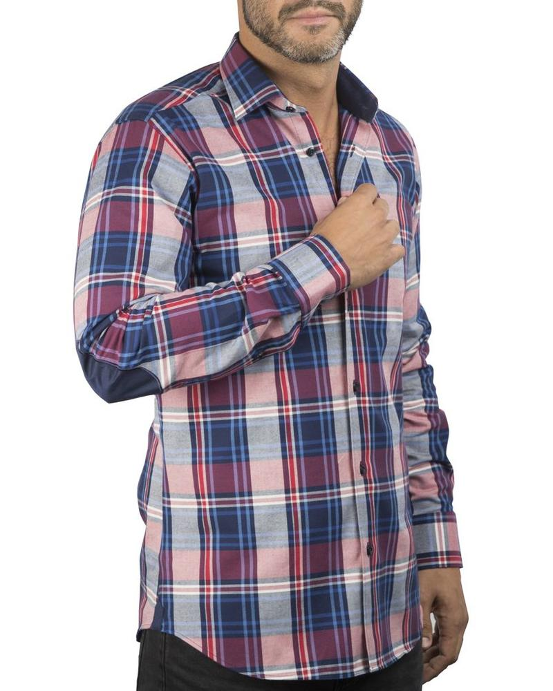 XOOS Raspberry checkered elbowpaded fitted shirt