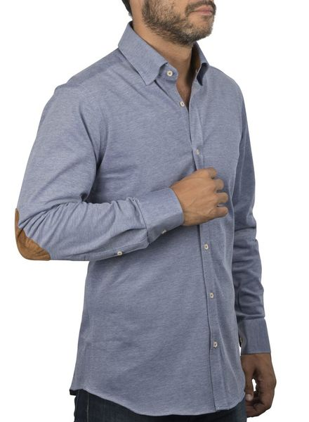 XOOS Men's blue elbowpaded jersey cotton shirt