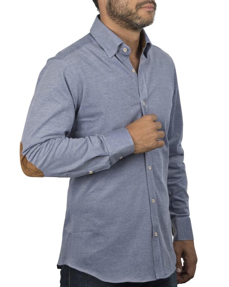XOOS Chemise homme cintrée en jersey bleu foncé à coudières