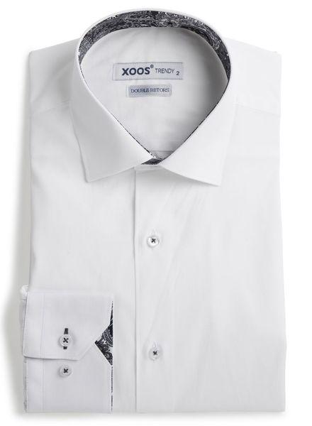 XOOS Chemise homme blanche à doublure cachemire noir (Double Retors)