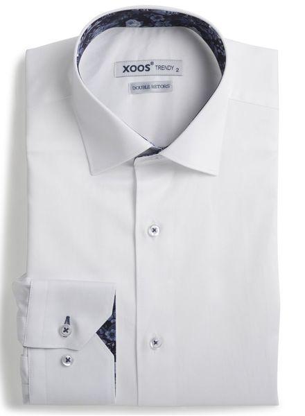 XOOS Chemise homme blanche à doublure florale navy (Double Retors)