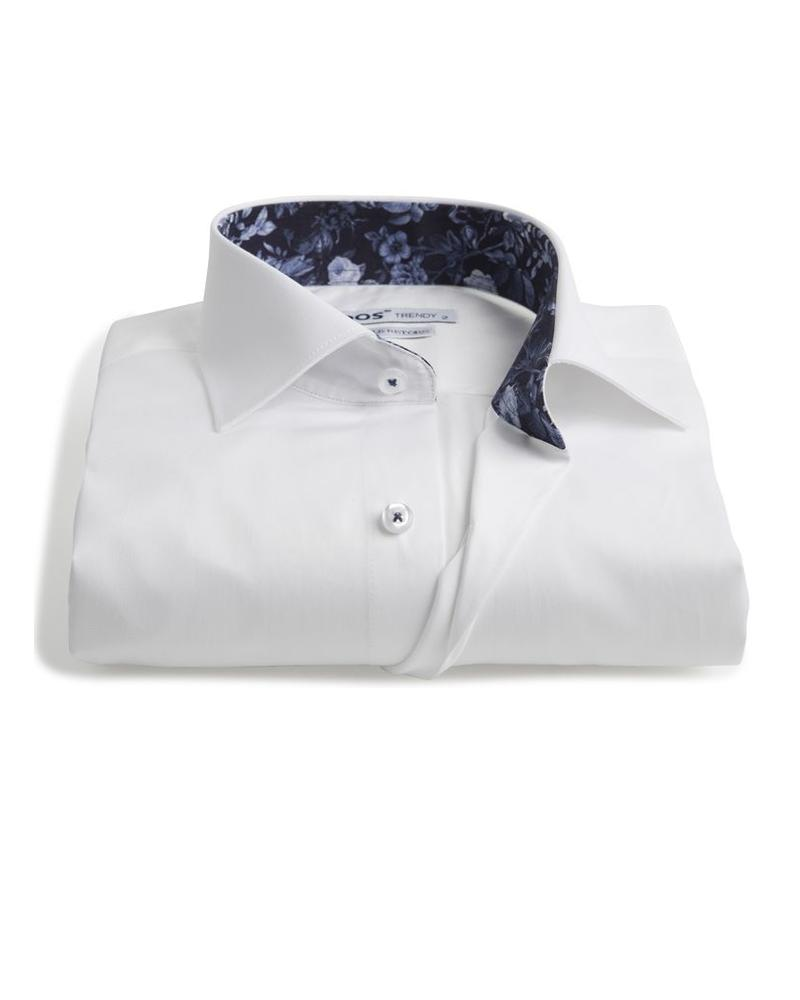 XOOS Men's white fitted shirt with navy floral lining (Double Twisted)