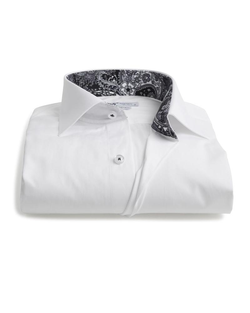 XOOS Men's white fitted shirt with black paisley lining (Double Twisted)