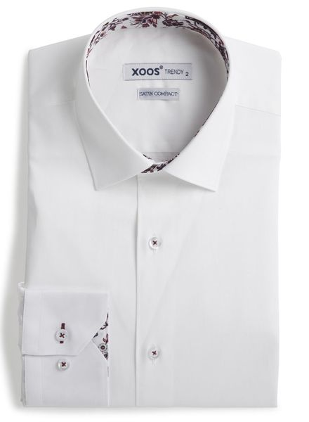 XOOS Men's white fitted shirt with red floral lining