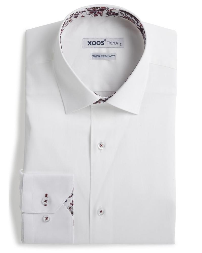 XOOS Chemise homme blanche à doublure floral rouge