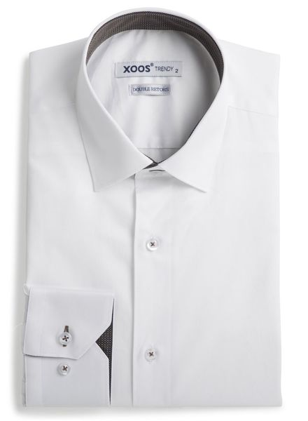 XOOS Chemise homme blanche à doublure tissée navy et cuivre (Double Retors)