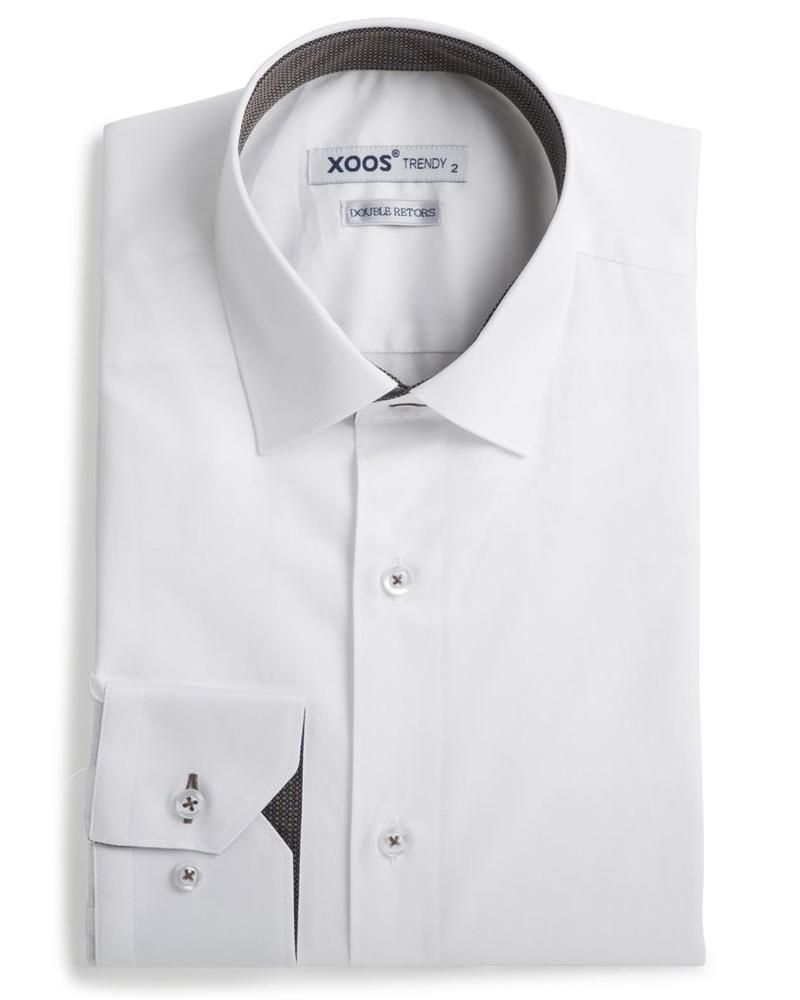XOOS Men's white fitted shirt with copper woven lining (Double Twisted)