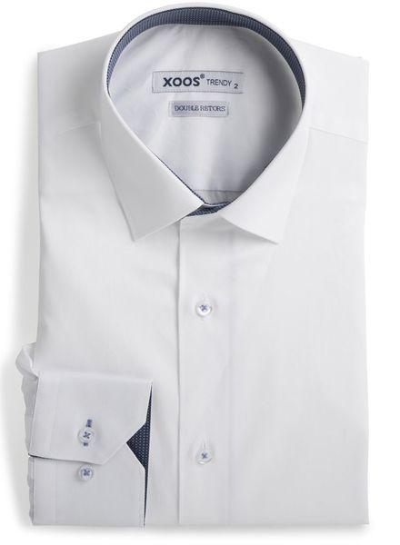 XOOS Chemise homme blanche à doublure tissée navy et ciel (Double Retors)