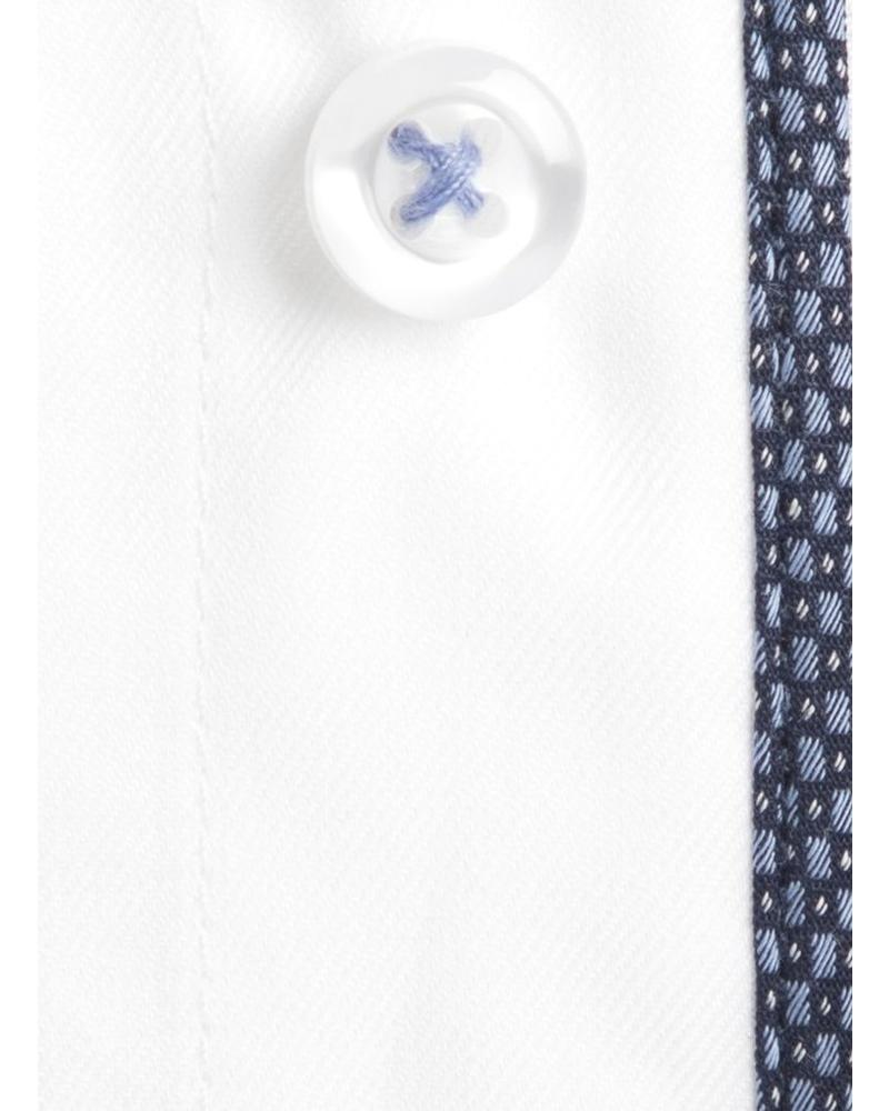 XOOS Men's white fitted shirt with blues woven lining (Double Twisted)