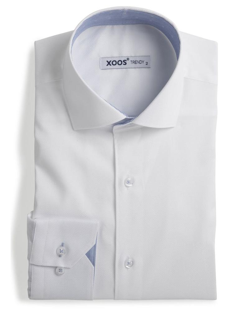 XOOS Men's white fitted shirt and blue printed patterns lining
