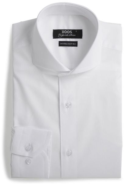 XOOS Men's white fitted shirt with full spread collar (Double Twisted)