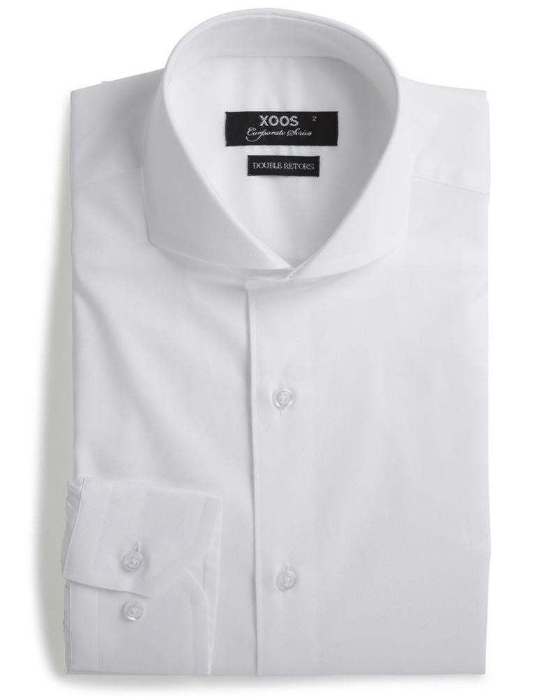 XOOS Chemise homme blanche col Full Spread nid d'abeille (Double Retors)