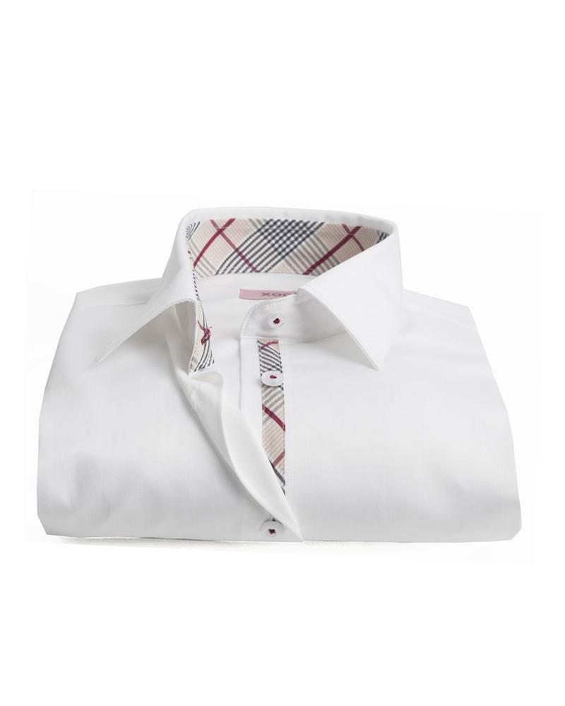 XOOS Women white shirt tartan lining