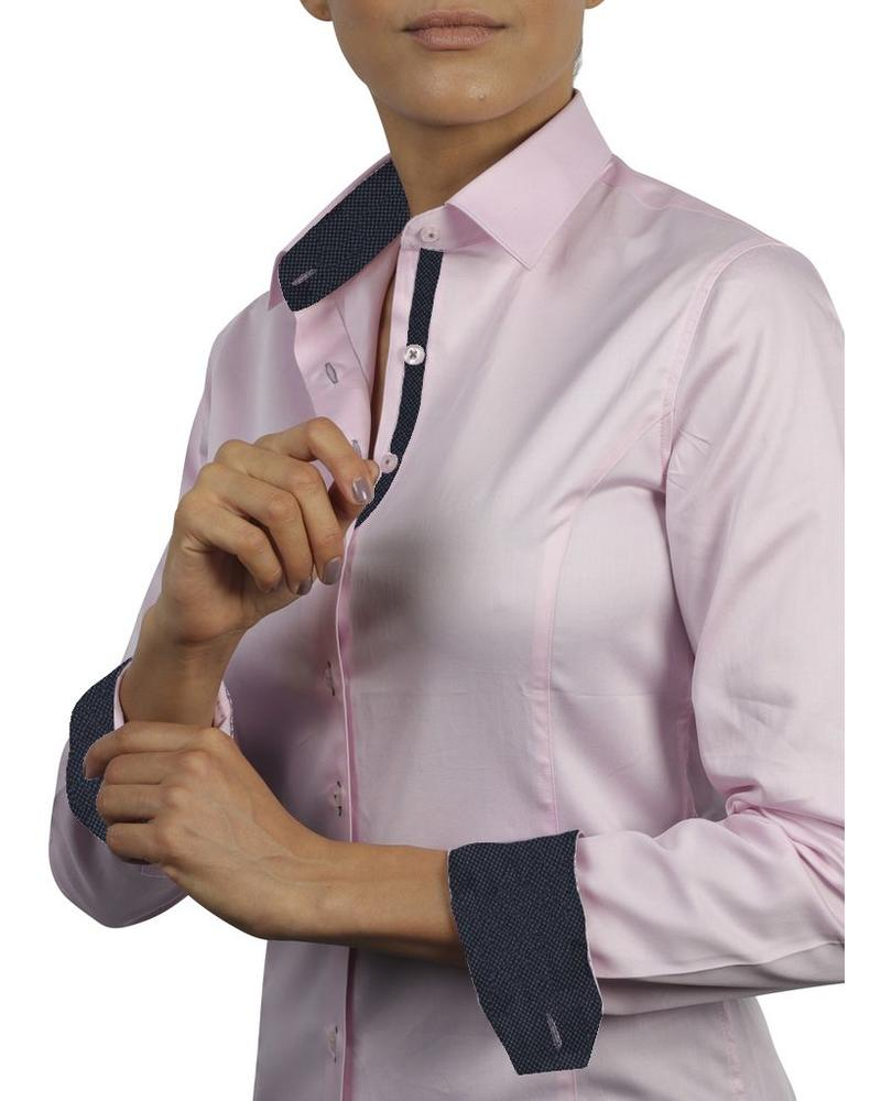 XOOS Chemisier Femme rose doublure navy à Micro Pois
