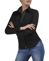 XOOS Chemisier Femme noir doublure noire à Micro Pois