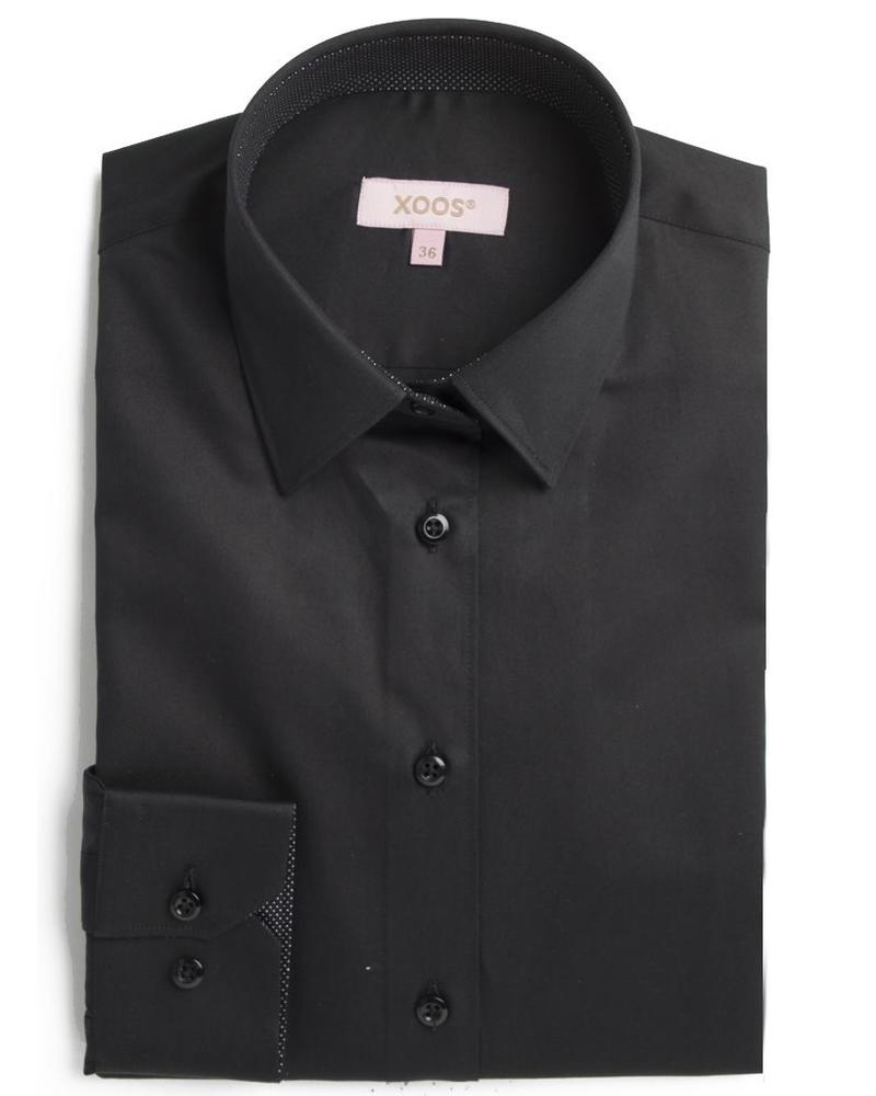 XOOS Women black shirt polka dots lining