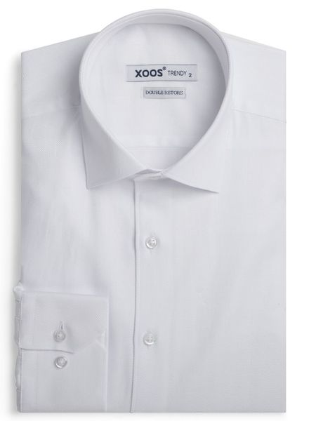 XOOS Men's white fitted shirt in herringbone (Double Twisted)