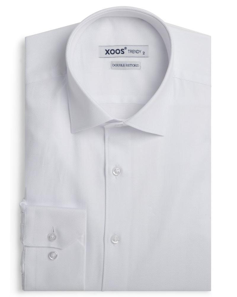 XOOS Chemise homme blanche en chevron (Double Retors)