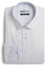 XOOS Men's white fitted shirt light blue micro dots braid
