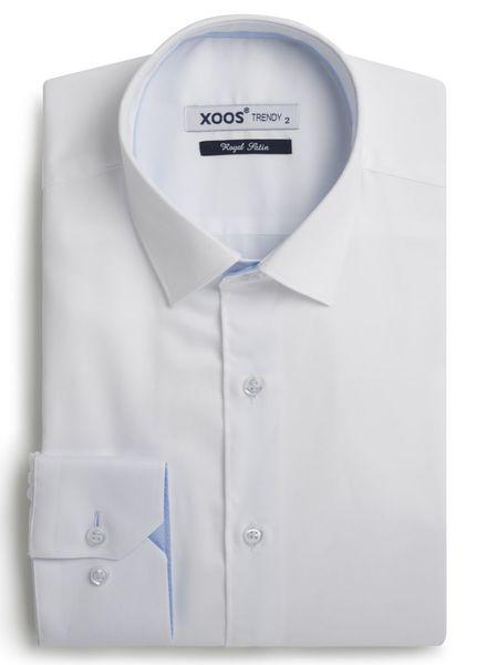 XOOS Chemise homme blanche à galon bleu ciel à micro pois