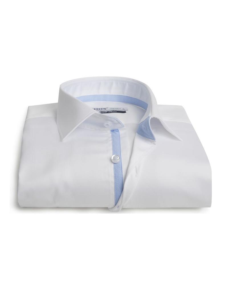 XOOS Men's white fitted shirt light blue micro dots braid
