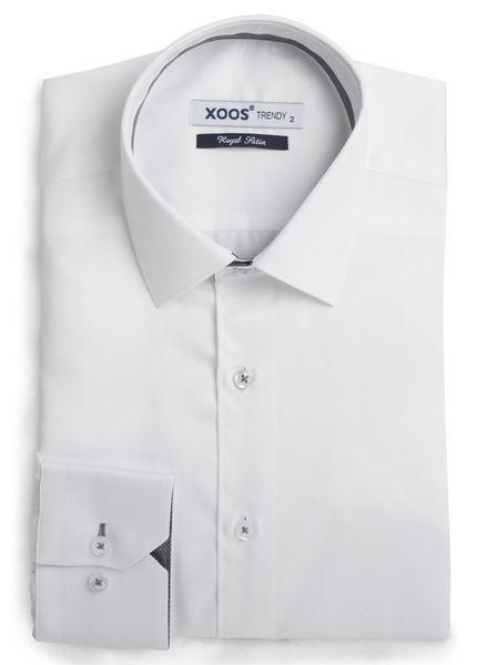XOOS Chemise homme blanche à galon gris à micro pois