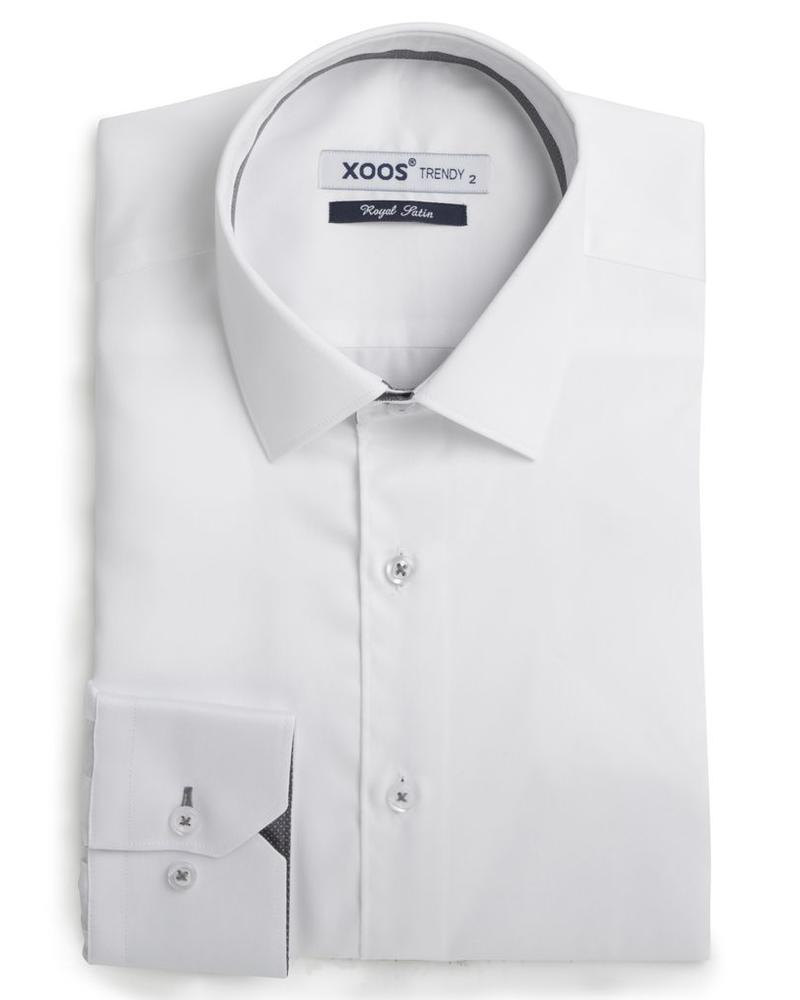 XOOS Men's white fitted shirt gray micro dots braid