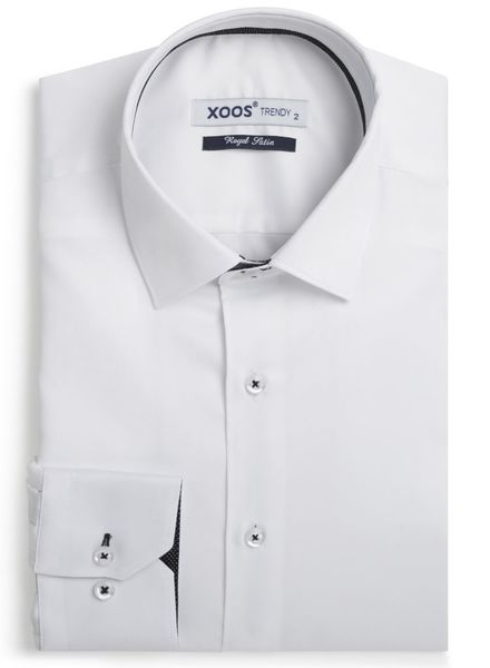 XOOS Chemise homme blanche à galon noir à micro pois