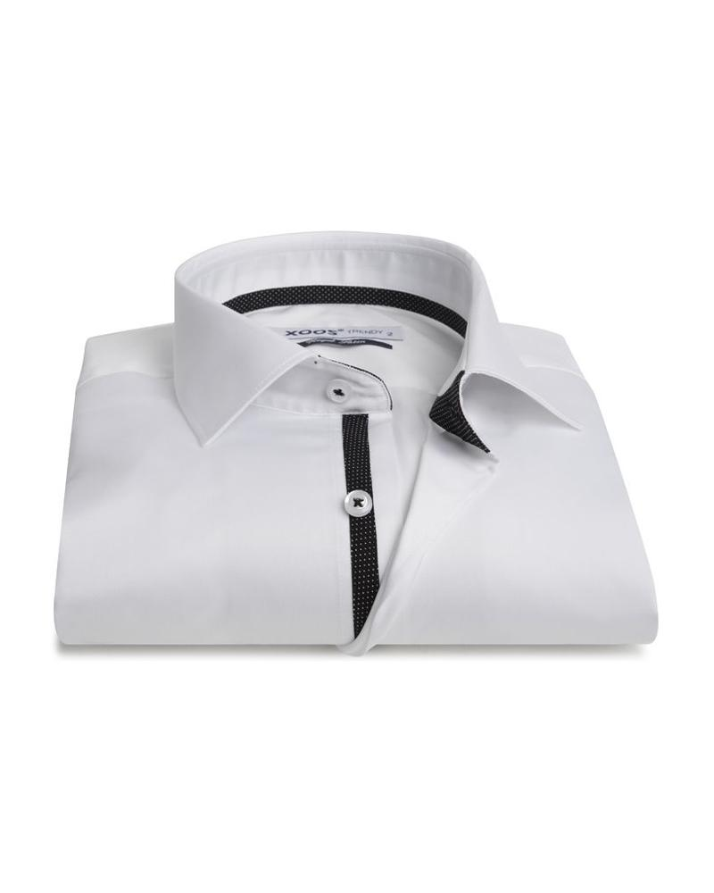 XOOS Men's white fitted shirt black micro dots braid