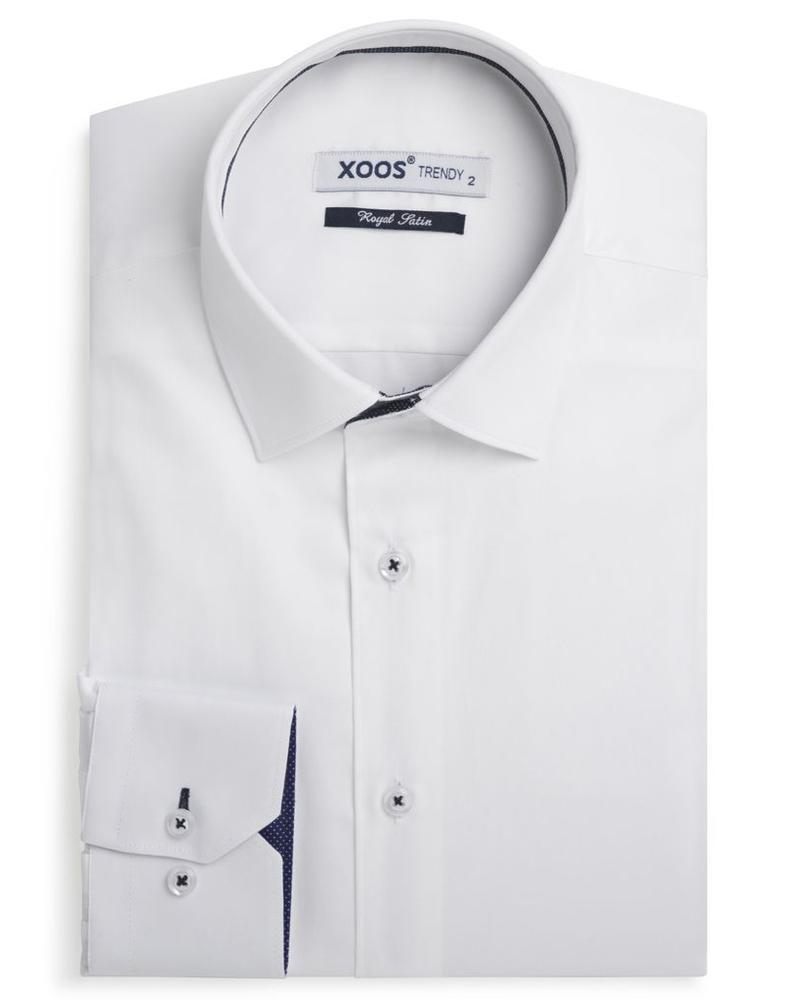 XOOS Men's white fitted shirt navy micro dots braid