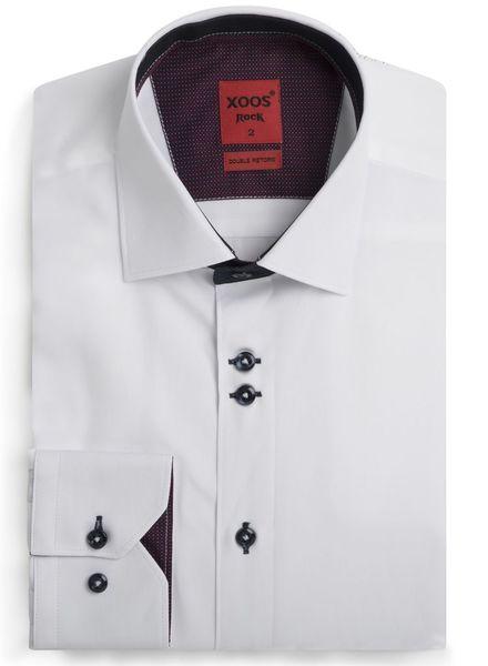 XOOS Chemise homme Edge blanche doublures navy et bourgogne à motifs
