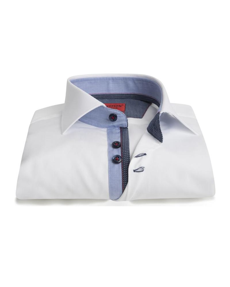 XOOS Men's white Edge fitted shirt blue and indigo patterned lining
