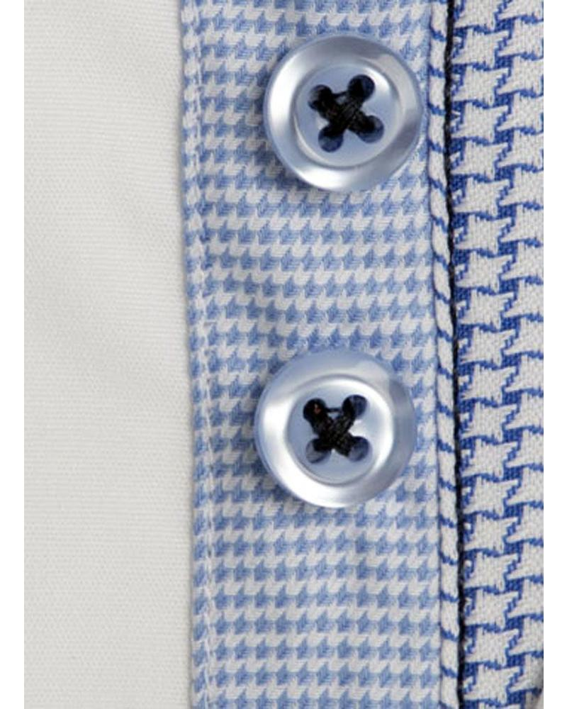 XOOS Men's white Edge fitted shirt light blue gingham and houndstooth lining