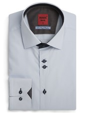XOOS Men's white Edge fitted shirt navy and copper lining