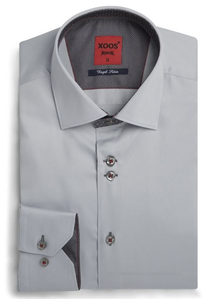 XOOS Men's gray Edge fitted shirt gray prints lining