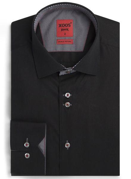 XOOS Chemise homme Edge noire doublures grises à motifs