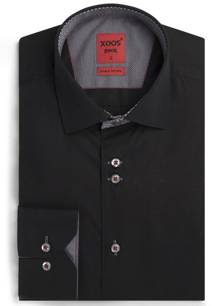 XOOS Men's black Edge fitted shirt gray prints lining