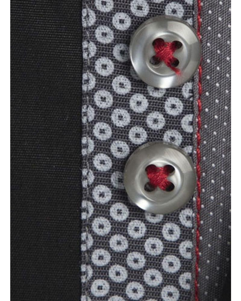 XOOS Men's black Edge fitted shirt gray prints lining