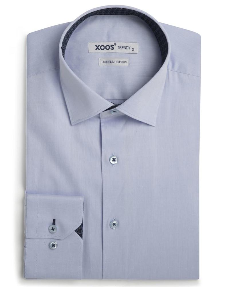 XOOS Men's blue fitted shirt and navy houndstooth lining (Double Twisted)